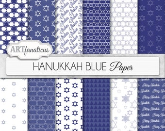 "Hanukkah digital papers ""Hanukkah Blue"" Star of David, Chanukah, jewish star, digital backgrounds for scrapbooking, invitations, cards & etc"