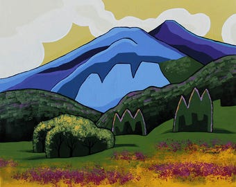 Large Landscape Painting - 24x30 Acrylic Original Wall Art on Canvas - Mountain Meadow Abstract Colorado Art by Karen Watkins - Paradise
