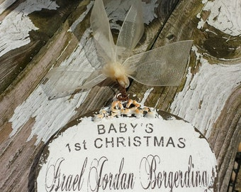 Babys First Christmas in Heaven Ornament | Personalized Ornament | In Loving Memory Christmas Ornament | Miscarriage Ornament | Loss of Baby