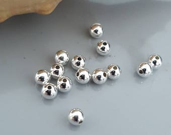 4mm Sterling Silver Seamless Round Beads - Select 10, 20 or 50