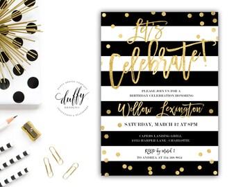 Black & Gold Birthday Party Invitation, Let's Celebrate Birthday Invite, Adult Birthday Party Invitation, Birthday Party Invitation, 5x7