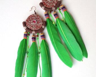 Long Green Tribal Feather Earrings, Colorful Wild Earrings Dreamcatcher Style, Aztec Earrings Feather Jewelry