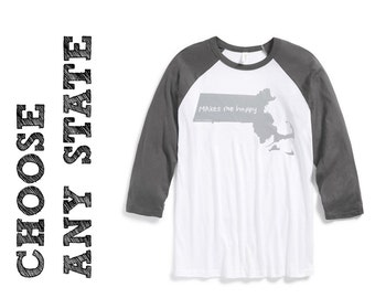 state tshirt, choose your state, baseball t, neutral, silkscreen shirt, men's tshirt, men's gift idea, free ship