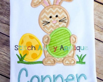 Easter Bunny with Eggs Machine Applique Design