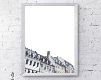 Copenhagen Homes   Eco-friendly Printable Art Instant Download. Modern Minimalist Print. Architecture Wall Art Poster.