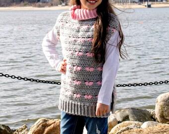 Crochet Pattern Sweater, Poncho, Tunic, Girl's Sweater, Girl's Poncho, Sweetheart Poncho 18-358