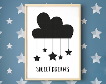 Sweet Dreams Framed Print, Clouds and Stars, typographic, monochrome wall art, A4, A3, Digital print, Sleepy Head