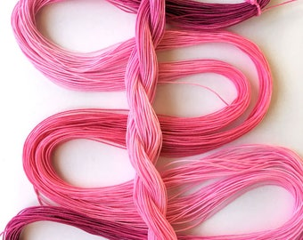 "Size 30 ""Pink Posy"" hand dyed thread 6 cord cordonnet tatting crochet cotton 36 yards"