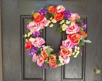 Spring Door Wreath For Front Door, Housewarming Wreath, Floral Wreath Door, Spring Wreath, Spring Door Wreath, Easter Wreath, Easter Decor