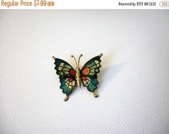 ON SALE Retro Metal Enameled Butterfly Pin 51216