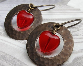 red heart earrings textured earrings Valentines Day Chocolate covered Cherry Hearts under 25 gifts for her gift for mom