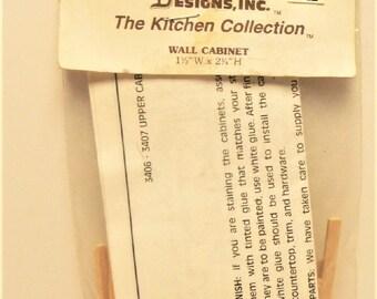Dollhouse Miniature Kitchen Wall Cabinet Kit. SDI3406NOS