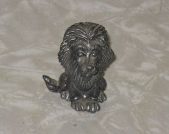 Miniature pewter lion figurine shadowbox size