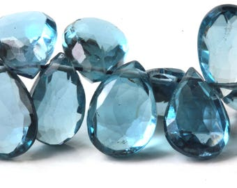 London Blue Topaz Teardrop Briolette, Your Choice of 1, 2, 3, 4, 5, or 6 Topaz, GENUINE TOPAZ 8mm to 11mm Deep Smoky Blue Teal KJ