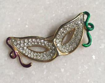 Rhinestone Mask Brooch // Jeweled Gold Masque // Mardi Gras Jewelry