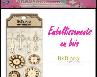 Clocks, clock, needles BO BUNNY embellishment scrap wood *.