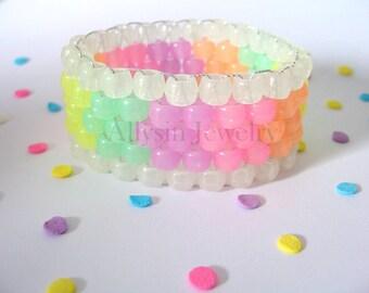 Glow Kandi Cuff, Fairy Kei Rave, Pastel Cuff, Glow in the Dark Rainbow, Mini 5 Row, Raver Plur Jewelry