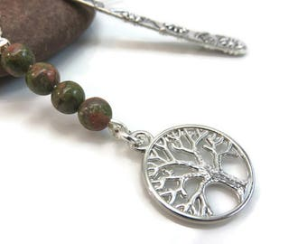 Unakite bookmark - silver metal bookmark - tree of life bookmark - silver tree bookmark - gemstone bookmark - gift for book lover