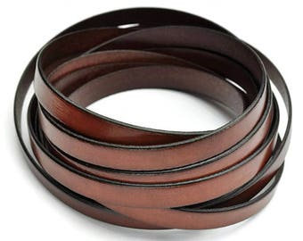 """Whisky Brown 10MM Flat Leather - 2t/24"""" - High Quality European Leather Cord"""