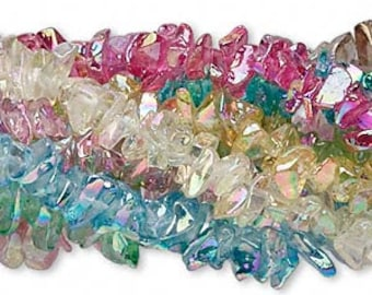 10 Strands Glass Chips Mixed Colors 36 Inch Bright AB Finish