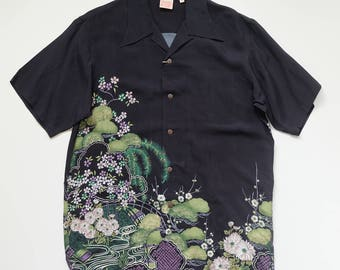 GUMU Vintage Japanese Landscape Flower Floral Flowers Cherry Blossoms Sakura Leaves Green Wagara Art Black Polo Shirt ( SIZE : L ) AS19