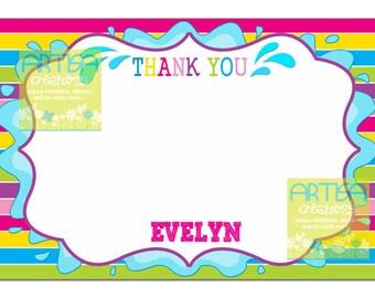 Splash Party Thank You Card, Splish Splash Thank you Note, Water Splash note card, colorful girls note card, pool party thank you note
