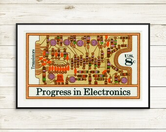 Large wall art: Transistors, electronics art, electronics posters, US history, tech history, tech posters, electrical gifts, engineer gifts