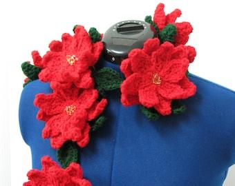 Scarf Crochet Pattern - Poinsettia Scarf Pattern - Flower Scarf Pattern - Christmas Flowers Pattern - Women's Scarf Pattern
