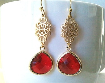 Ruby Garnet Crystal Drop Earrings, Birthstone Jewelry ,Christmas Gift