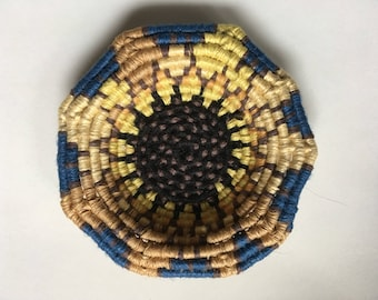 Sunflower miniature coiled linen basket