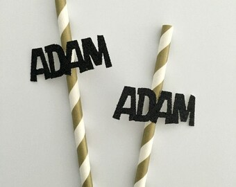 Customized name on paper straws .. birthday paper straws .. name on paper straws .. birthday party