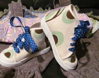 Hand painted shoes that match Matilda Jane & Persnickety clothing line
