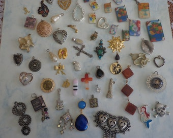 SALE - Large Lot of Vintage to Now Pendants, Charms and Drops (58 Pieces)