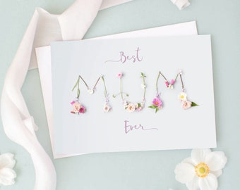 Best Mum Ever Mothers Day Card | Card for Mum | Floral Card for Mum | Card for Mom