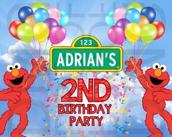 Sesame Street Elmo, Abby, Cookie Monster, or Big Bird Birthday Banner Digital Download 6 feet by 4 feet