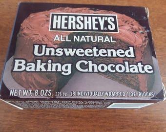Vintage Hershy's Unsweetened Baking Chocolate Box