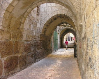 Street Arch in Jerusalem, Israel photography, Old Jerusalem Brown art