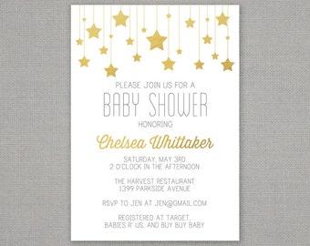 Baby Shower Invitation -- Gold Stars