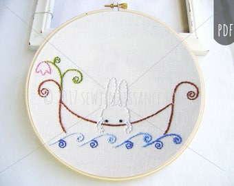 Embroidery PDF Pattern Sail Away Bunny Flower Boat Ocean