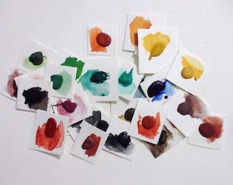 Dot Card Samples - Earths - Handmade Watercolor Paint - Art Supply - Watercolor Samples - Art Paint - Handcrafted Professional Watercolour
