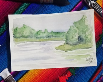 Lakeside Watercolor Painting