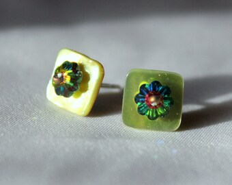 Hand Made Upcycled stud earrings, made from Green Shell Vintage buttons with sterling silver posts  and  3mm swarovski margarita