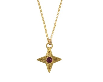 Ruby Compass Star Necklace, Ruby Necklace, July Birthstone Gift, Compass Necklace, Star Necklace, North Star Necklace, Gemstone Necklace