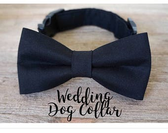 Black Dog Bow Tie, Wedding Dog Collar and Bow Tie in Black, Wedding Dog Collar, Wedding Dog Bow Tie, Dog Collar, Black Dog Collar, #dog