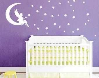 Fairy Bedroom Wall Decal, Girls Bedroom Wall Vinyl Decal, Fairy Stars Removable Wall Vinyl Decal Art, Kids Bedroom Decal, Fairy Stars, b19
