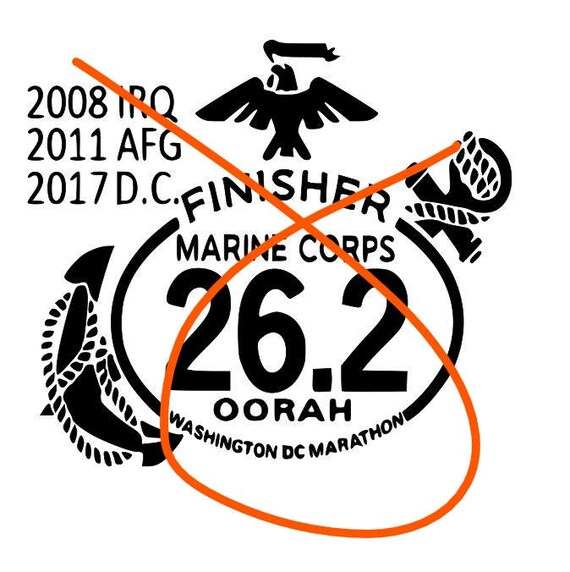 Marine Corps Decal, Marathon custom deca,  Marine decal, EGA Decal, USMC Decal, USMC Decals, Marine Decals, Personalized Marathon decal