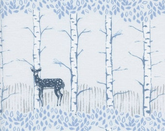 Cotton + Steel Frost - Fawn in Forest Neutral - Quilting Cotton - Fabric by the Yard - Deer Woodland Fabric