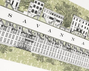 SAVANNAH Rowhomes No. 5 (Art Print) Architectural Streetscape Drawing Graduation Realtor Anniversary Gift Georgia Architecture Rowhouse