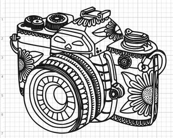 Mandala Style Camera SVG PDF EPS Dxf & Studio 3 Cut Files