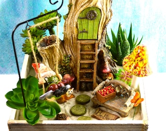 Gnome Garden Planter ~ Gnome on a Swing ~ Wooden Box ~ Mushroom Choice ~ Option for Faux Succulents ~ Plants and Soil Not Included ~ Gift